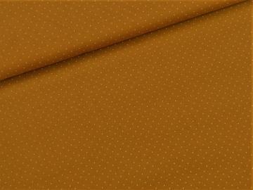 Viskosejersey uni mit weißen Punkten senf